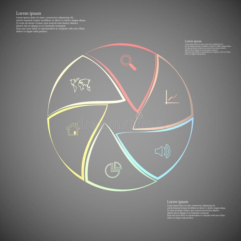 Gerundetes infographic besteht aus sechs Teilen auf Dunkelheit vektor abbildung