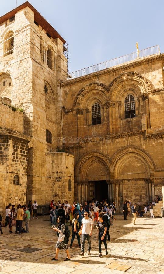 GERUSALEMME, ISRAELE - 2 aprile 2018: fuori della chiesa del sepolcro santo fotografie stock