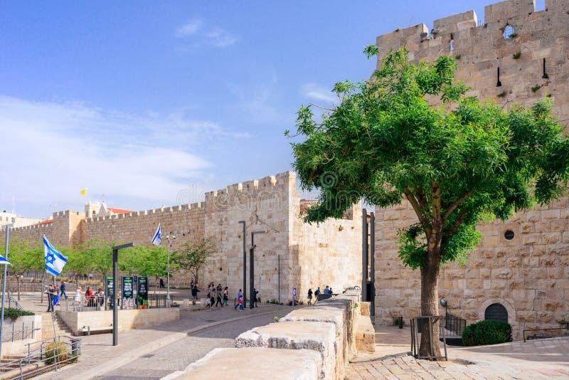 GERUSALEMME, ISRAELE - APRILE 2017: Portone di Giaffa - vecchia città di Gerusalemme immagini stock libere da diritti