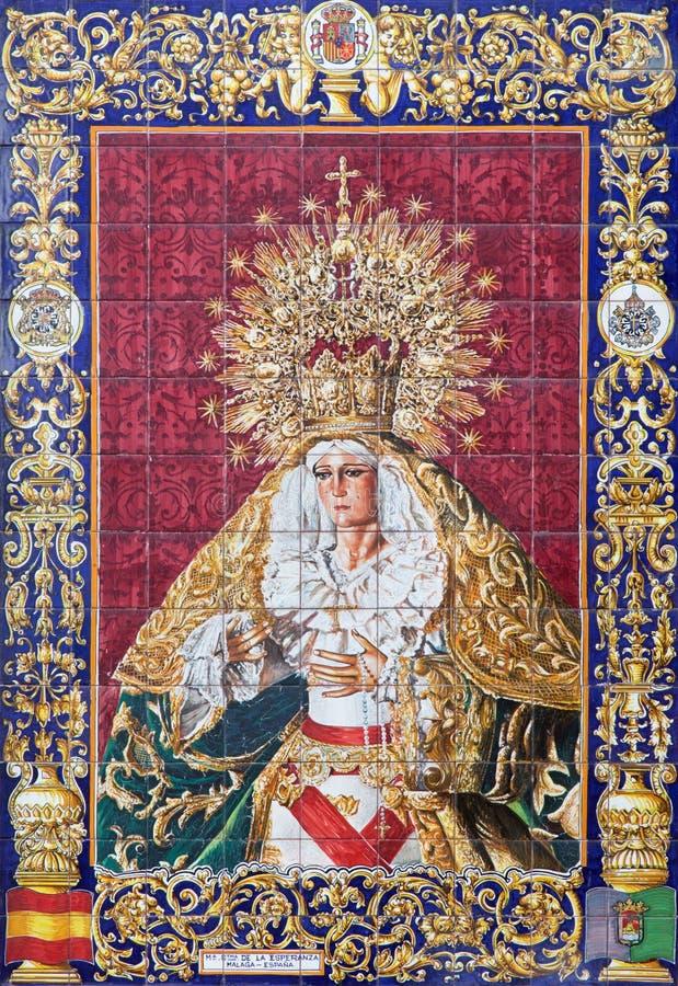 Gerusalemme - Madonna piastrellato e gridato ceramico da Malaga sulla facciata della casa vicino alla chiesa di flagellazione fotografia stock libera da diritti