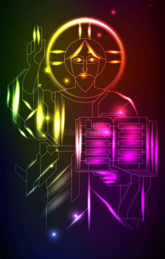 Gesù al neon, nello stile di art deco Illustrazione astratta della religione illustrazione vettoriale