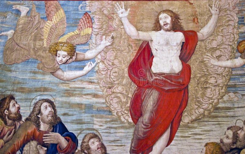 Gesù - Ascensione, tappezzeria, musei del Vaticano fotografie stock
