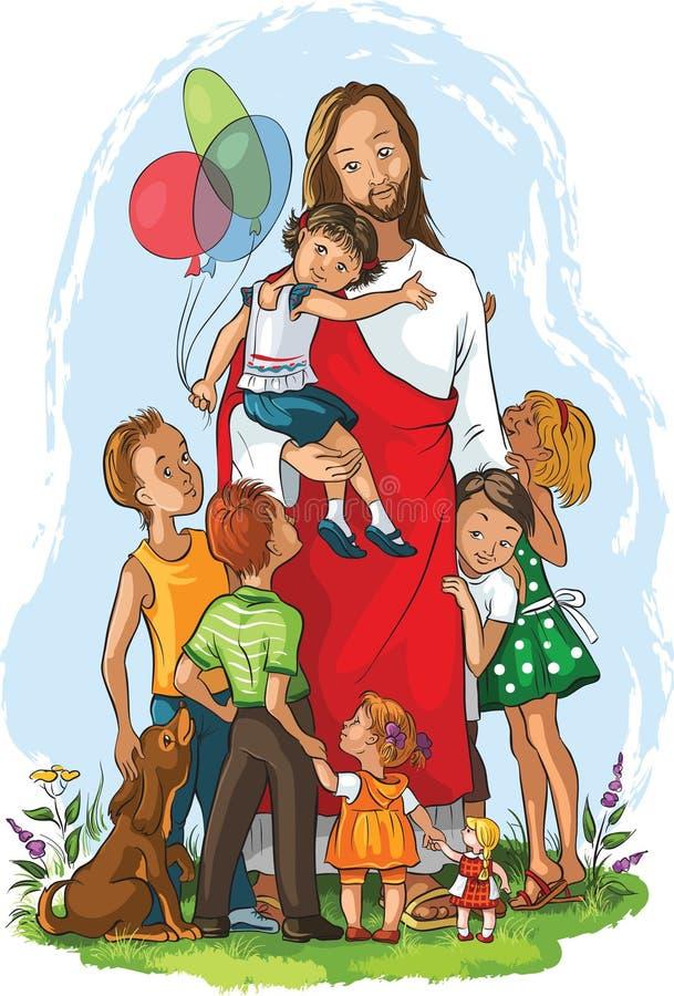 Gesù con i bambini royalty illustrazione gratis