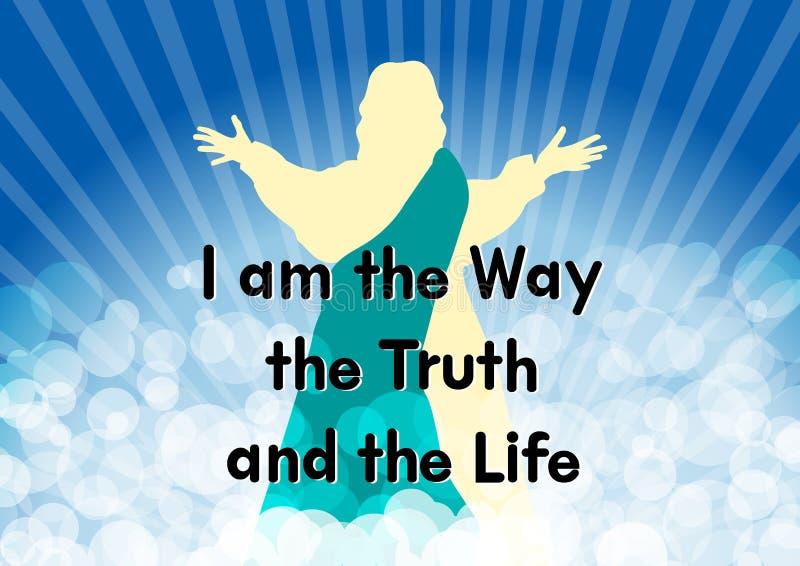Gesù con la parola sono il modo la verità e la vita illustrazione di stock