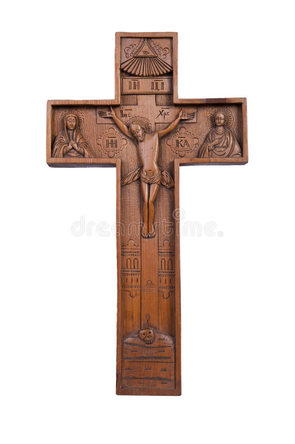Gesù Cristo sulla traversa di legno fotografia stock libera da diritti