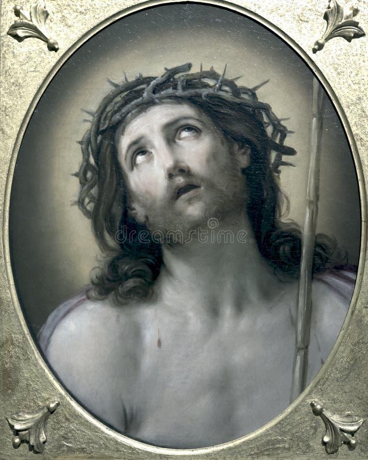 Gesù di sofferenza nella pittura antica fotografia stock libera da diritti