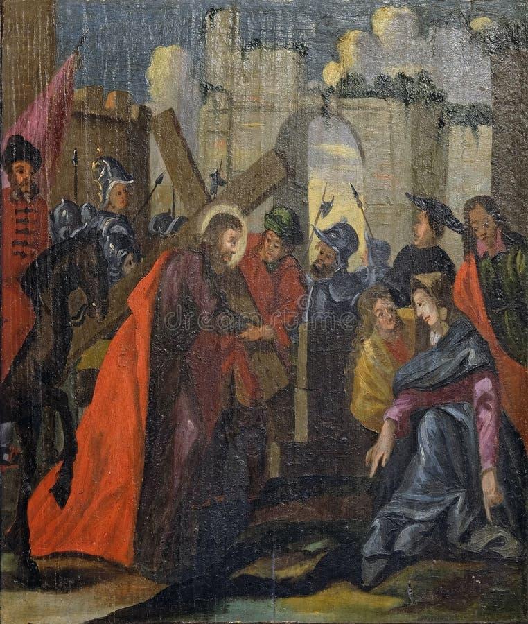 Gesù riceve la sua croce, altarocco nella chiesa di Santa Barbara a Velika Mlaka, Croazia fotografie stock libere da diritti