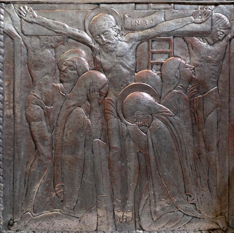 Gesù sull'incrocio, altare del cuore sacro di Gesù nella chiesa di San Biagio a Zagabria fotografia stock