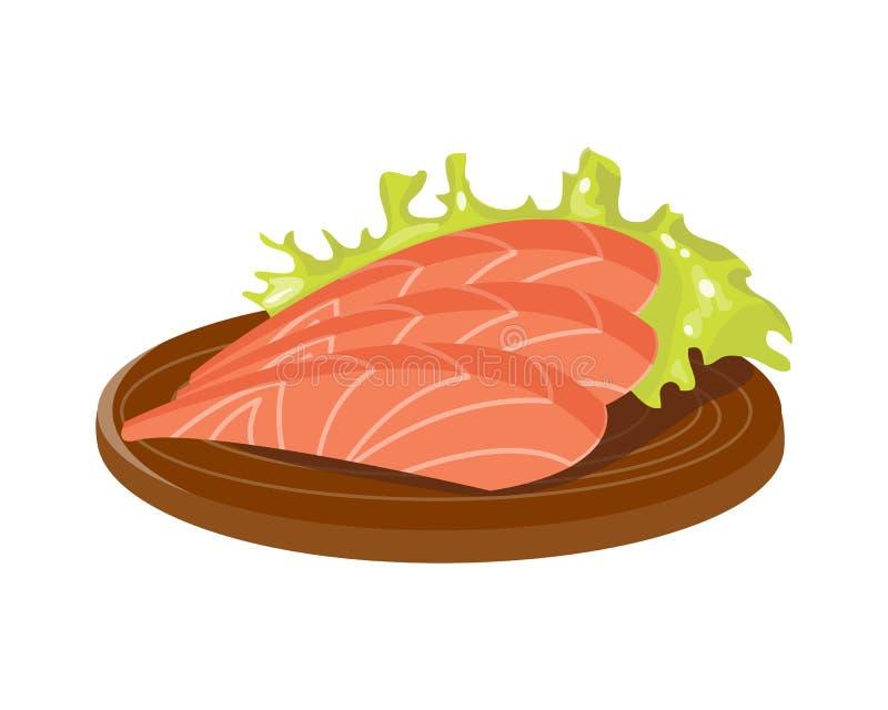 Gesalzene rote Fischscheibe auf der Frischfleischplatte des hölzernen Brettes Leistenmahlzeit-Abendessenvektor gesundem und Delik lizenzfreie abbildung