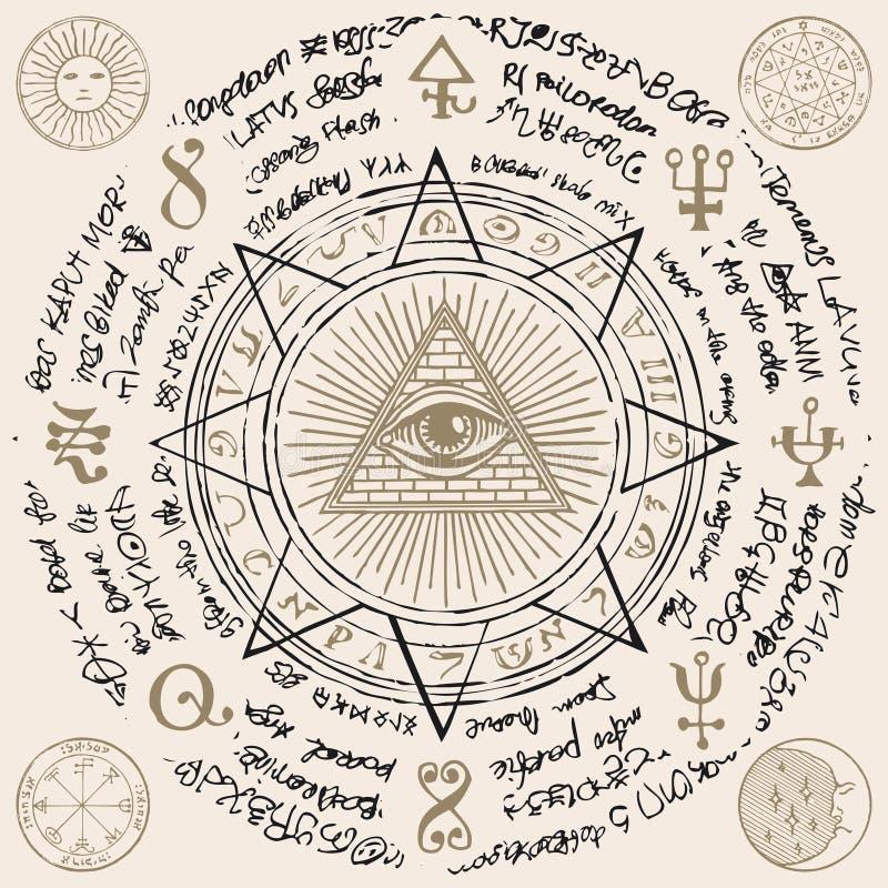 Gesamt-Sehen des Auges des Gottes innerhalb der Dreieckpyramide vektor abbildung