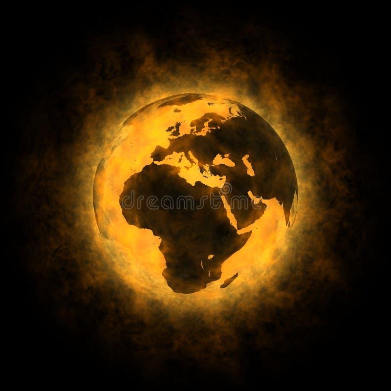 Gesamterwärmung von Planet Erde - Europa Afrika Asien lizenzfreie abbildung