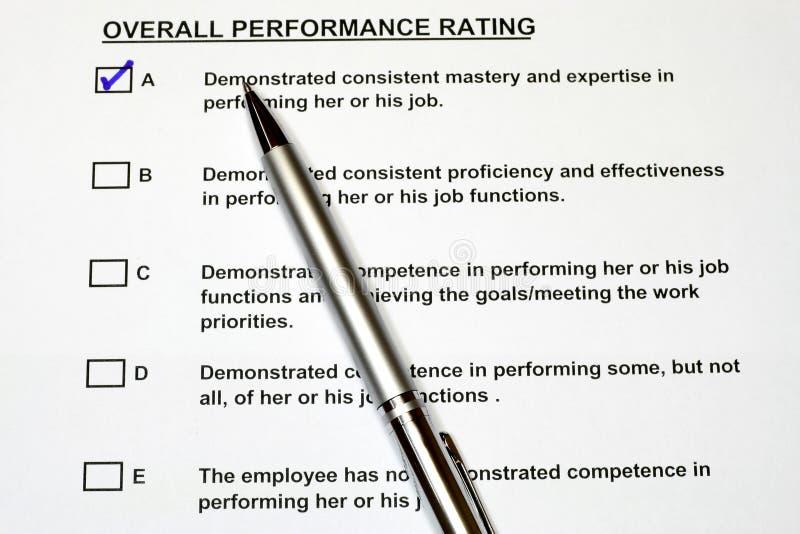 Gesamtleistungsbeurteilungs-Formular 2 stockbild