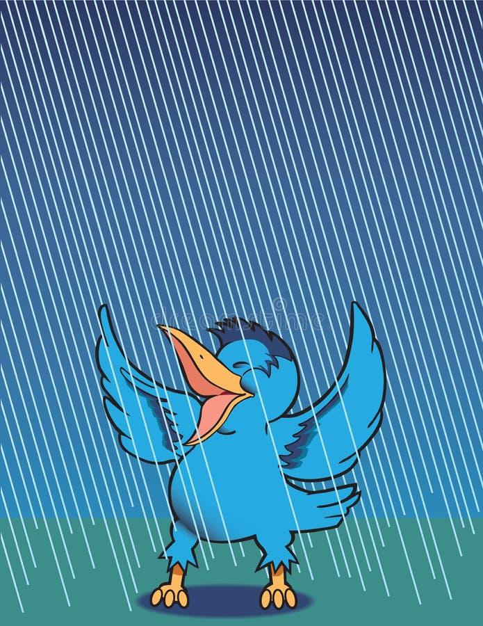 Gesang im Regen lizenzfreie abbildung