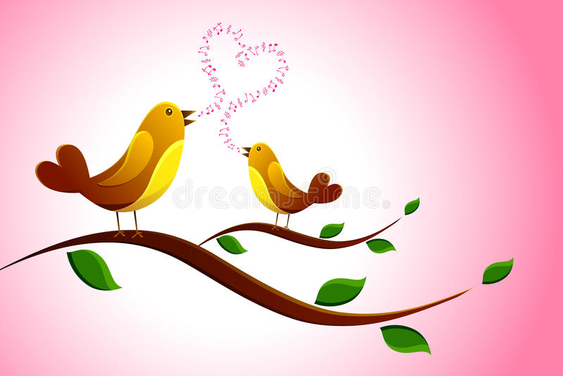 Gesang-Liebes-Vogel lizenzfreie abbildung