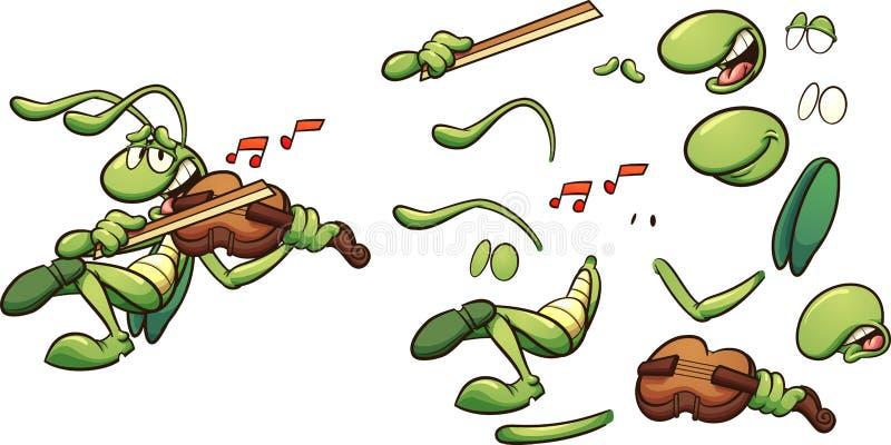 Gesangkarikaturheuschrecke, die eine Violine spielt lizenzfreie abbildung