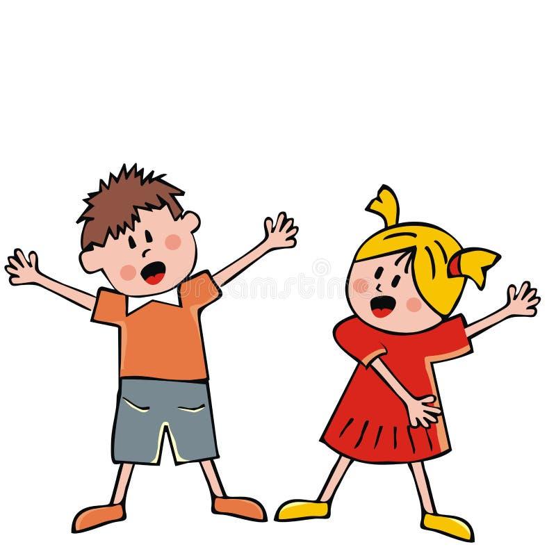 Gesangkinder, Mädchen und Junge, Vektorikone lizenzfreie abbildung