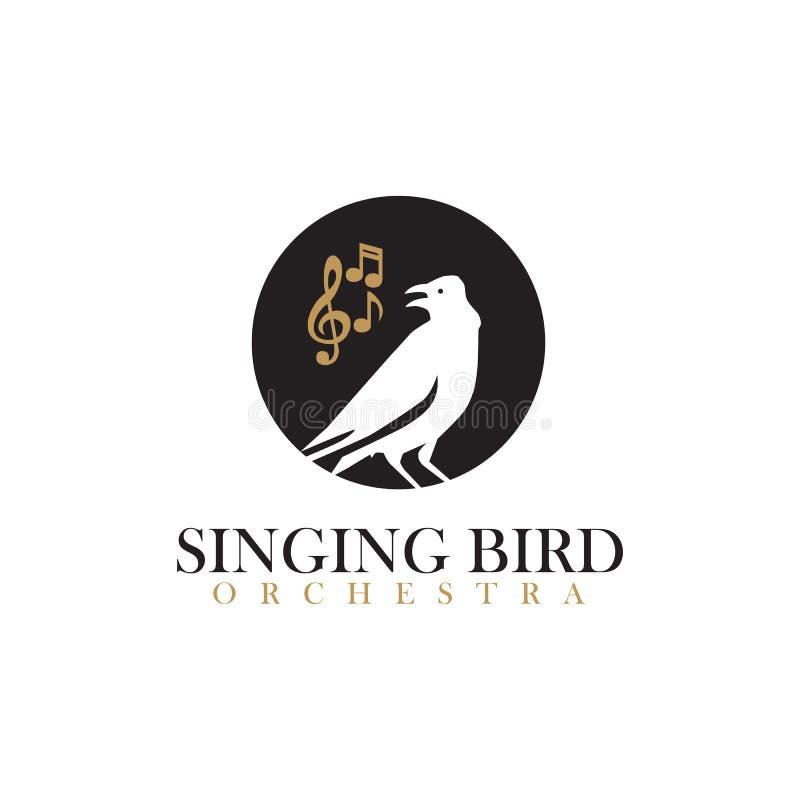 Gesangvogelorchesterlogo-Ikonenschablone lizenzfreie abbildung