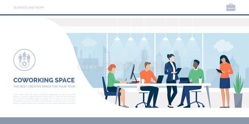 Geschäftsleute, die in einem coworking Raum zusammenarbeiten lizenzfreie abbildung