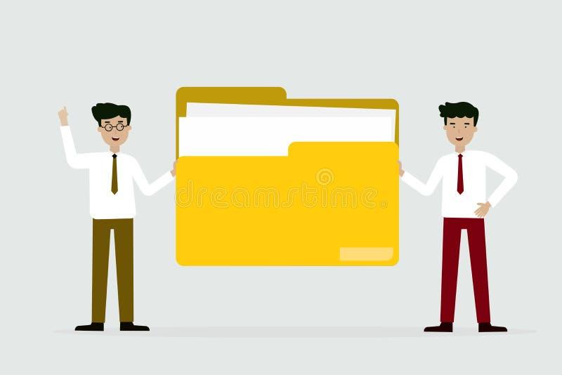 Geschäftsmann und Freund mit großem Ordner stock abbildung