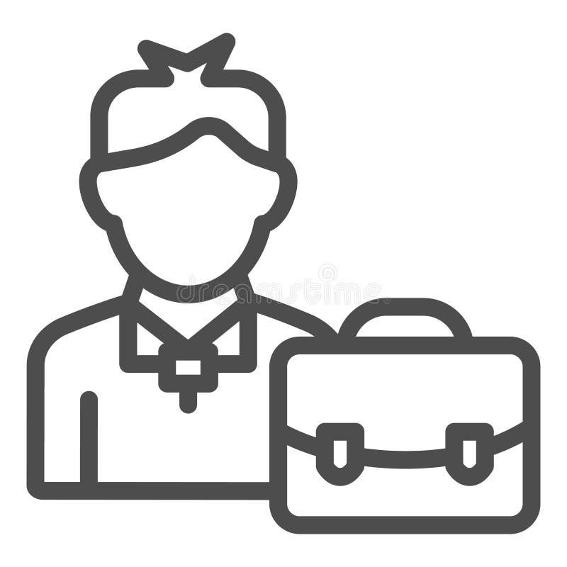 Geschäftsmannlinie Ikone Mann mit der Aktenkoffervektorillustration lokalisiert auf Weiß Manager mit Kofferentwurfsart lizenzfreie abbildung