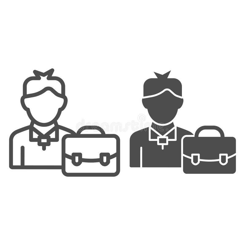 Geschäftsmannlinie und Glyphikone Mann mit der Aktenkoffervektorillustration lokalisiert auf Weiß Manager mit Kofferentwurf vektor abbildung