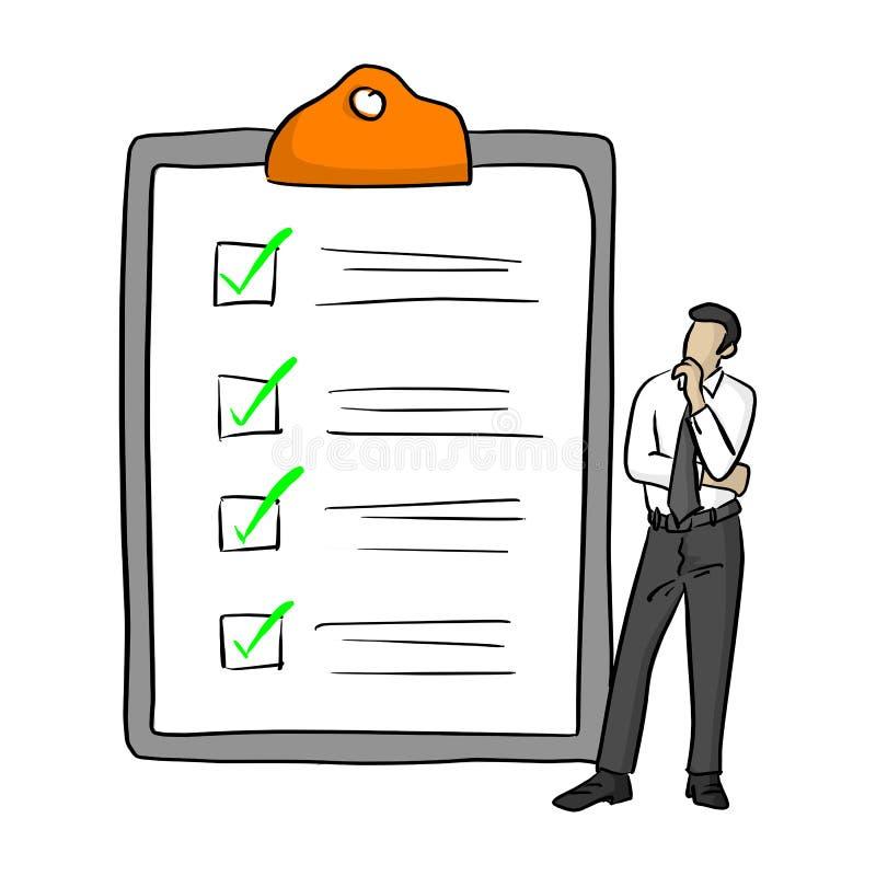 Geschäftsmannstellung nahe großer kompletter Checkliste mit grüner Zecke markiert Vektorillustration mit den schwarzen Linien, di lizenzfreie abbildung