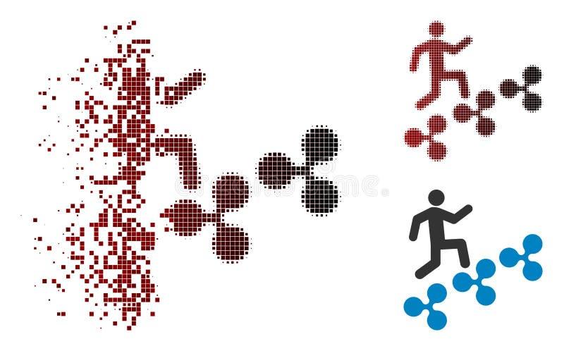 Geschädigte Dot Halftone Man Climb Ripple-Ikone vektor abbildung