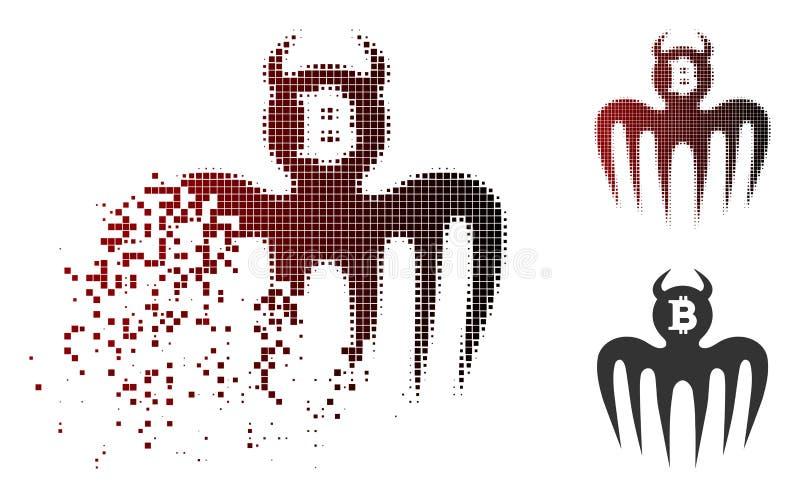 Geschädigte Erscheinungs-Teufel-Ikone Pixelated Halbton-Bitcoin stock abbildung