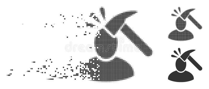Geschädigte Pixel-Halbtonbenutzer-Schock-Ikone vektor abbildung