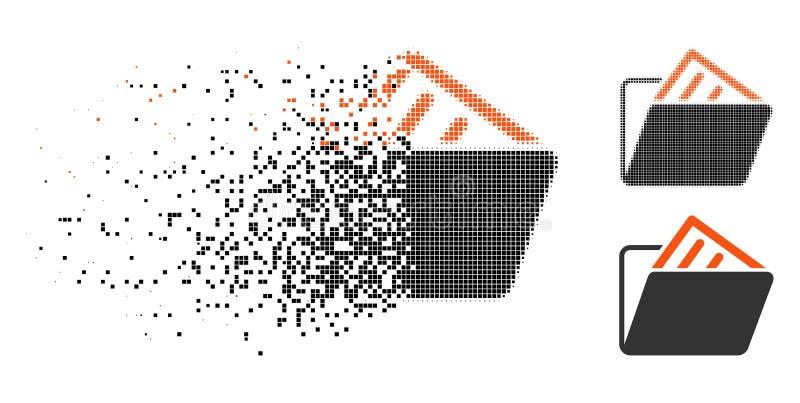 Geschädigte Pixel-Halbtondokumenten-Ordner-Ikone stock abbildung