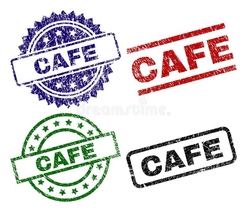 Geschädigte strukturierte CAFÉ Stempelsiegel lizenzfreie abbildung