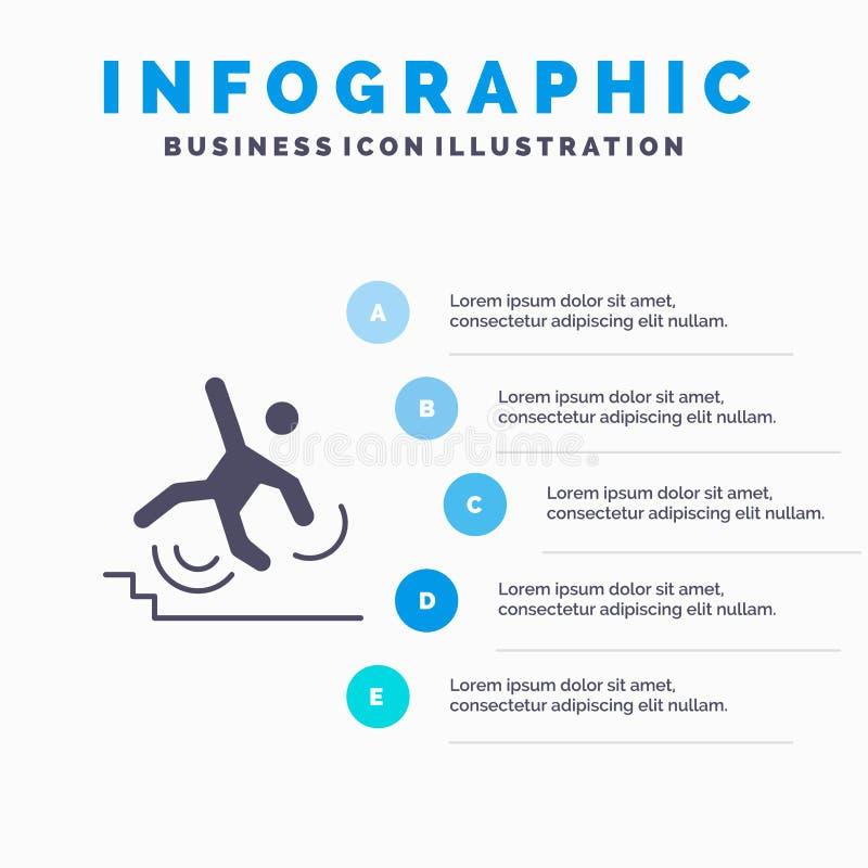 Geschäft, Abbruch, ausfallen, Ausfall, Schritt-Darstellungs-Hintergrund Fall-fester Ikone Infographics 5 vektor abbildung
