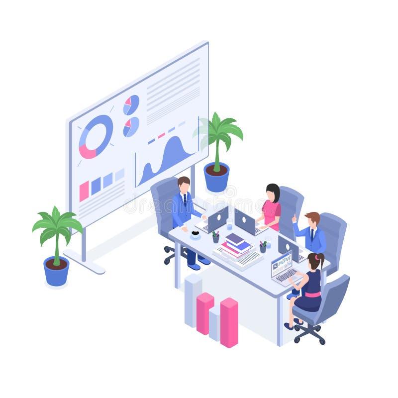 Geschäft Analytics, der isometrische Illustration ausbildet Manager und Aufsichtskräfte, Büropersonal in der Karikatur des Konfer stock abbildung