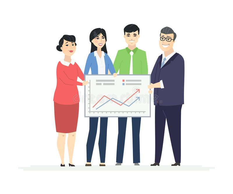 Geschäft Analytics - moderne Vektorgeschäfts-Zeichentrickfilm-Figur-Illustration vektor abbildung