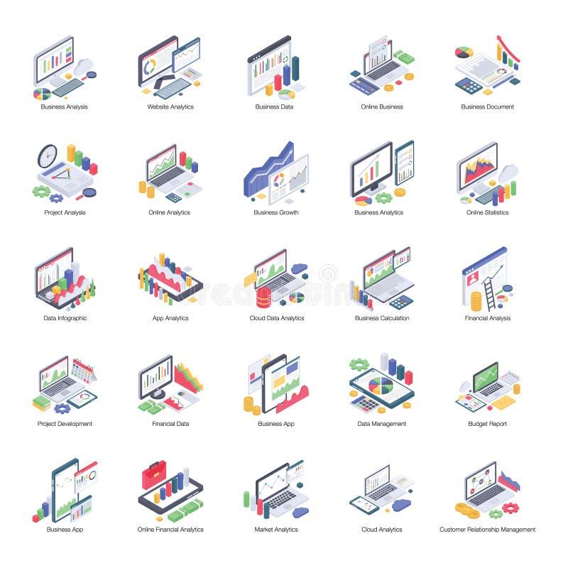 Geschäft Analytics-Satz isometrische Ikonen lizenzfreie abbildung