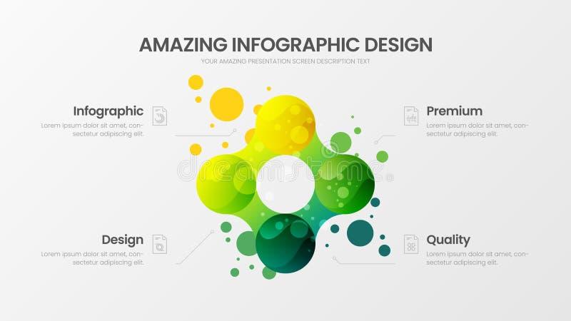 Geschäft Analyticsdarstellungsvektor-Illustrationsschablone infographic Entwurf mit 4 Statistiken der Wahl bunten neuen organisch stock abbildung