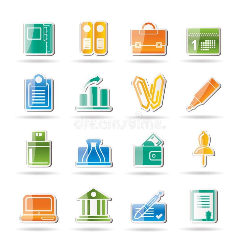 Geschäft, Büro und Finanzikonen lizenzfreie abbildung