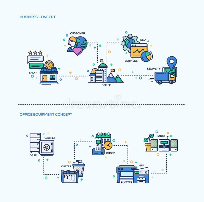 Geschäft, Büroeinrichtungs-flache Design-Ikonen-Konzept-Zusammensetzungen eingestellt stock abbildung