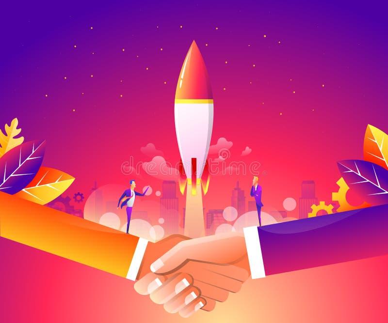 Geschäft beginnen oben Konzept für Webseite, Fahne, Darstellung, Social Media Vektorillustration, Geschäftsprojekt vektor abbildung