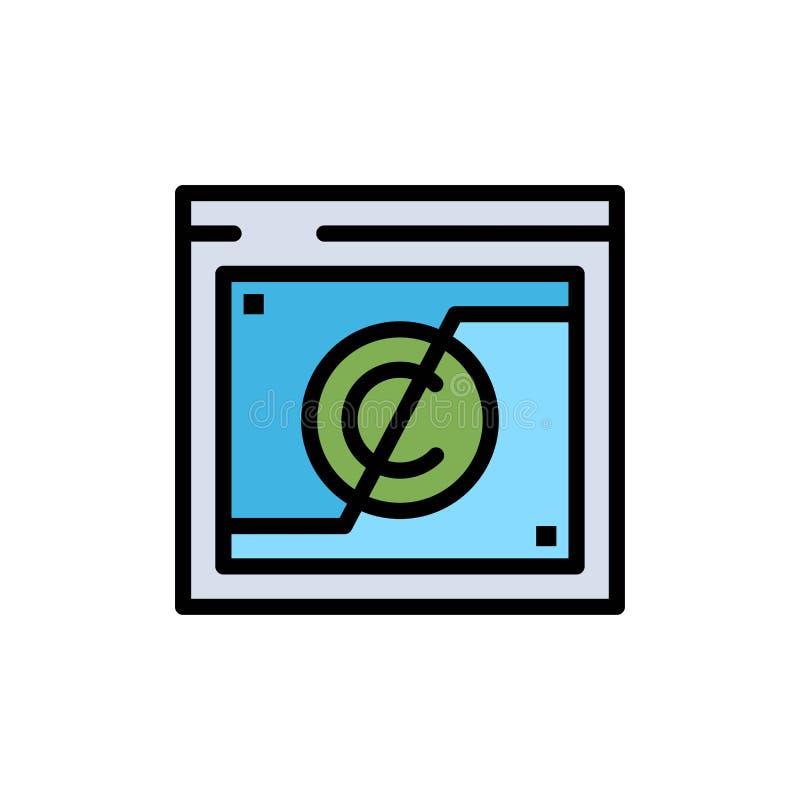 Geschäft, Copyright, Digital, Gebiet, Gesetzesflache Farbikone Vektorikonen-Fahne Schablone stock abbildung
