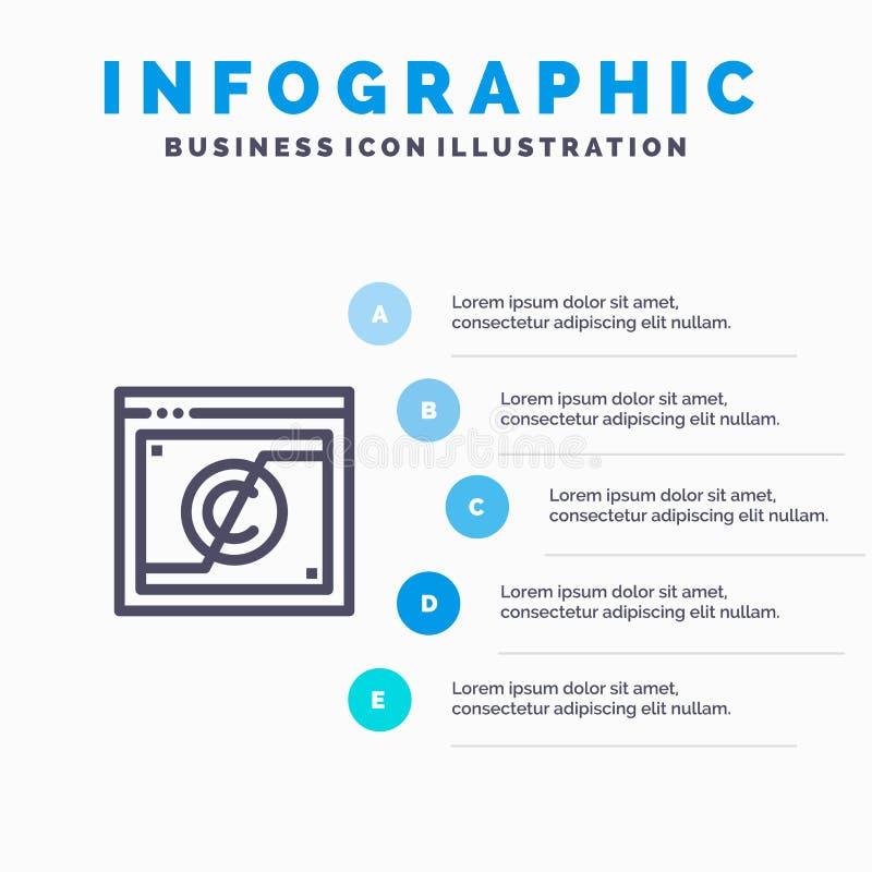 Geschäft, Copyright, Digital, Gebiet, Gesetzeslinie Ikone mit Hintergrund infographics Darstellung mit 5 Schritten lizenzfreie abbildung