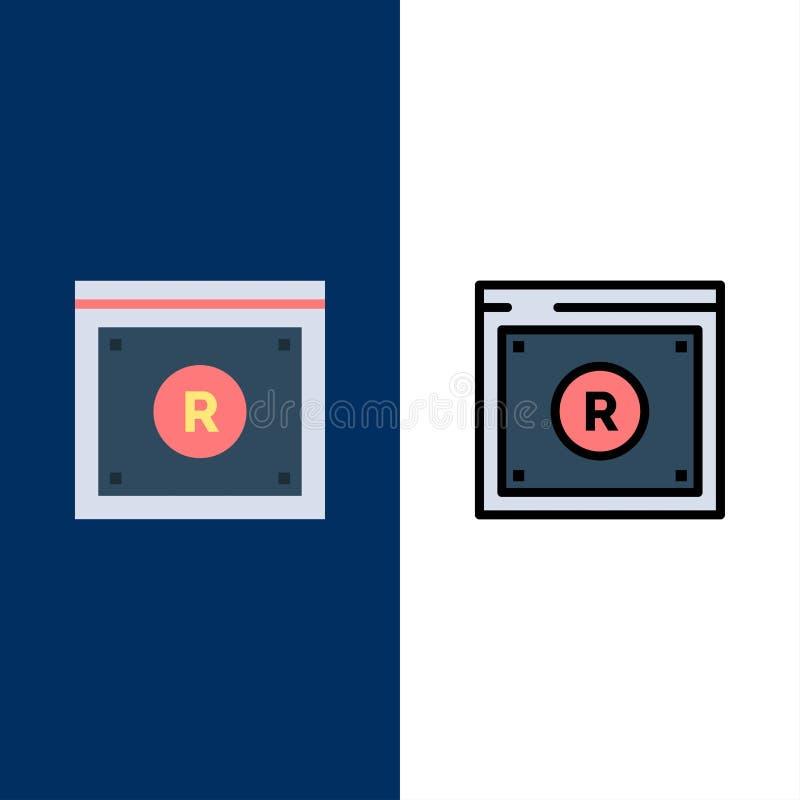 Geschäft, Copyright, Digital, Gesetz, on-line-Ikonen Ebene und Linie gefüllte Ikone stellten Vektor-blauen Hintergrund ein stock abbildung