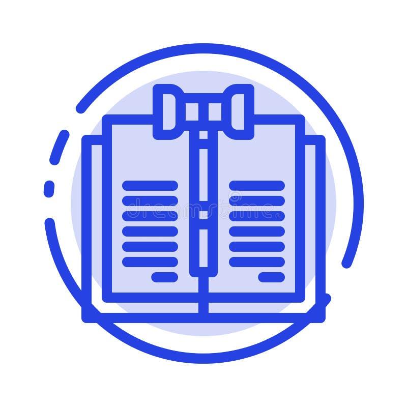 Geschäft, Copyright, Digital, Gesetz, Linie Ikone der Aufzeichnungs-blauen punktierten Linie stock abbildung