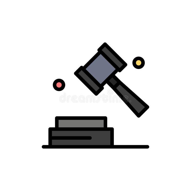 Geschäft, Copyright, Digital, Gesetzesflache Farbikone Vektorikonen-Fahne Schablone vektor abbildung