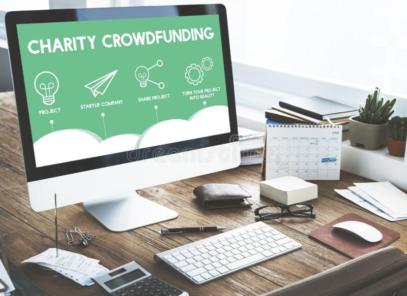 GESCHÄFT Crowdfunding Startcrowdsourcing-Zusammenarbeits-Grafik stockfoto