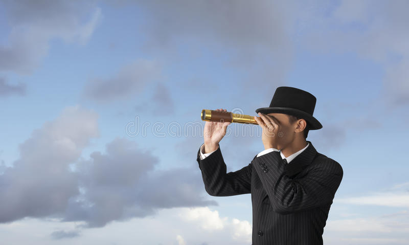Geschäft, das Abflussrinneteleskop schaut stockfotos