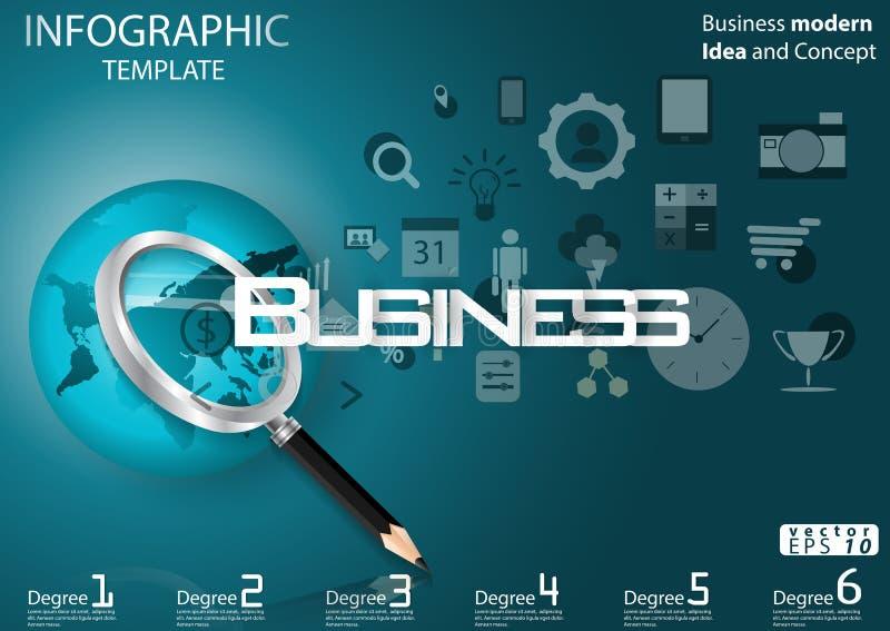 Geschäft, das Erfolg nach Design moderner Ideen-und Konzept-Vektorillustration Infographic-Schablone mit Vergrößerungsglas, Bleis vektor abbildung