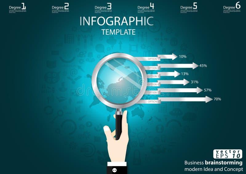 Geschäft, das Erfolg nach moderner Ideen-und Konzept-Vektorillustration Infographic-Schablone mit der Hand, Vergrößerungsglas, Bl stock abbildung