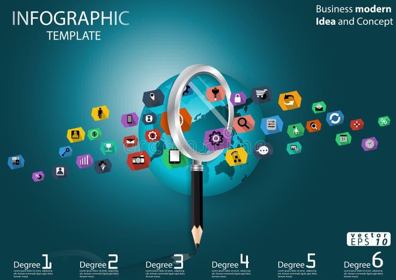 Geschäft, das Erfolg nach moderner Ideen-und Konzept-Vektorillustration Infographic-Schablone mit Vergrößerungsglas, Bleistift, W vektor abbildung