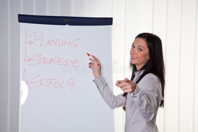 Geschäft, das für und durch junge Frauen trainiert stockbild